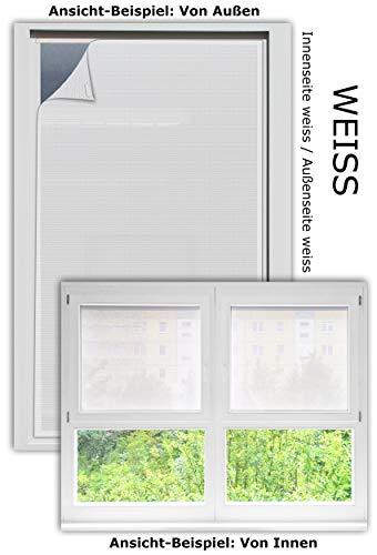 EFIXS Sonnenschutz für Außen ohne Bohren - Farbe: Weiss - Breite bis 80 cm, Höhe bis 100cm - Montage: Selbstklebender Druckverschluss - SCHEIBENFIXS auf Maß