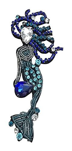 LIXBD Aufnäher, Meerjungfrau-Nagelperlen, Strassstein-Applikationen, DIY, Jacken, Jeans, Taschen, Stoff, T-Shirts, Pullover, Tasche, Ellenbogen-Kleidung, Weihnachtsdekoration (Farbe: Bild 1)