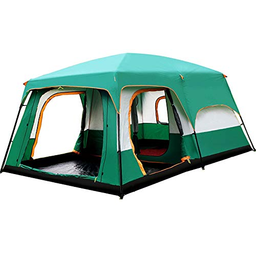 Lisansang Tiendas de campaña Cabaña Familiar Tienda for 8-12 Personas Campamento Base Senderismo Campamento Festivales Refugio al Aire Libre (Color : Green, Size : One Size)