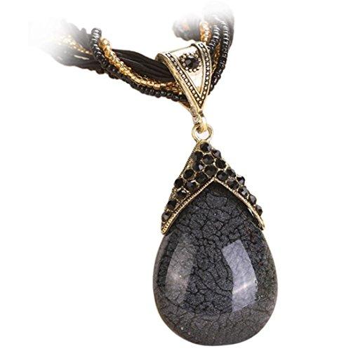 Nmch Women Bohemian Jewelry Statement Necklaces Rhinestone Gem Pendant Collar Necklace (Black)
