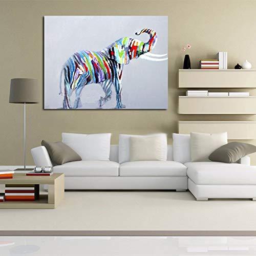 tzxdbh Schilderij op canvas, hoogwaardig, modern, kunst, Quadro, decoratie, dieren, schattig, olifant, olieverfschilderij, voor woonkamer 60x80cm Geen frame