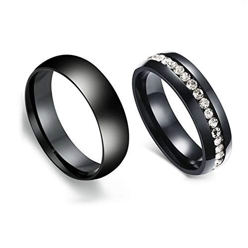 ANAZOZ 2 Stücke Paarringe 6mm Edelstahl Diamant Ring Licht 6mm Edelstahl Herrenring Damast Eheringe Verlobungsringe Damen Größe 49 (15.6) & Herren Größe 70 (22.3)