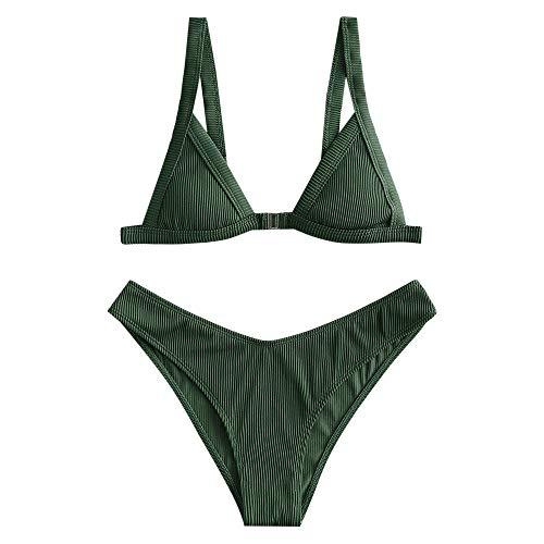 ZAFUL Bikini para mujer con cierre frontal triangular, traje de baño verde oscuro L