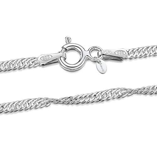 Amberta 925 Sterlingsilber Damen-Halskette - Singapurkette - 1.95 mm Breite - Verschiedene Längen: 40 45 50 55 60 70 cm (45cm)