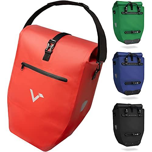 Valkental - Große & wasserdichte Gepäckträgertasche - 28L Füllvolumen - Fahrradtasche für Gepäckträger mit Reflektoren in Rot