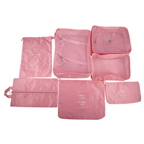 Huante - Lote de 7 bolsas herméticas para guardar ropa, clasificar, maletas, equipaje, organizador, bolsa de accesorios, color rosa