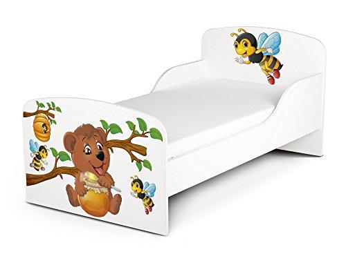 Leomark Letto per bambini in legno, lettino con materasso, magnifiche stampe, spazio per dormire 140x70 cm, mobili per bambini, rete a doghe, atrezzatura stanza per bambino, motivo: BARILE DI MIELE