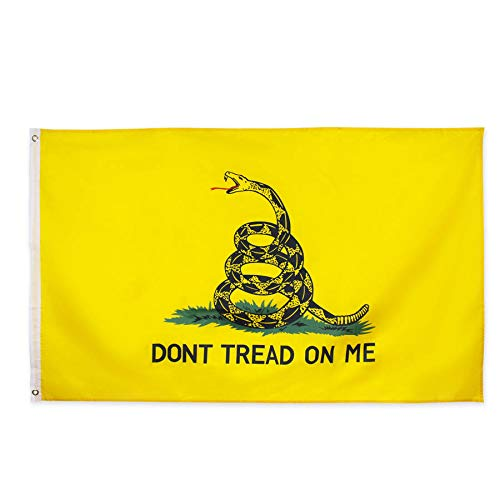 zagtag 3x5 Foot Don't Tread On Me Gadsden Flag - Vivid Color and UV Fade Resistant - Canvas Header and Double Stitched - Tea Party Flags Polyester with Brass Grommets 3 X 5 Ft