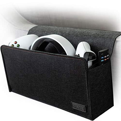 VRGE - Couch, Nachttisch, Gaming-Organizer, Aufbewahrung, Filz-Halterung für Game-Controller/Kopfhörer/Oculus Quest 2 VR mit seitlicher Fernbedienungshalterung