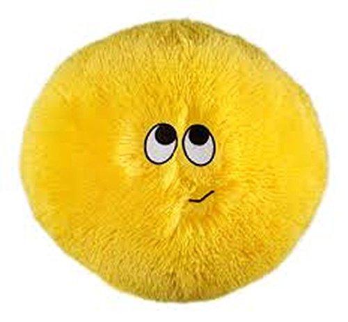Flauschn Kuschel-Kissen Kinderflauschkissen mit Lustigem Gesicht Durchmesser 35 cm Super Kuschelweich (Gelb)