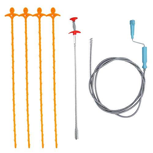 Homo Trends 6er Pack Abfluss Haarentferner Clog Tool Kit für Küchenspüle Badezimmer Badewanne (2 * Edelstahl Clog Entferner + 4 * Kunststoff Abfluss Schlange)
