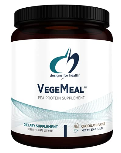 Designs for Health VegeMeal - Non-Dairy Pea Protein Meal Replacement Supplement Powder with 5-MTHF, Creatine + 16g Vegetarian Protein per Serving - Chocolate (15 Servings / 570g)
