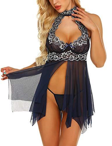 klier Dessous für Damen, offene Front, Spitze, sexy Neckholderkleid - Blau - Groß