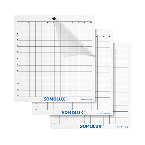 SOMOLUX Standard-Grip Adhesive Cutting Mat 3 Pack, Suit for Cameo1,2,3 Explore Air1,2 Die Cutting Machine, 12×12 inch Clear
