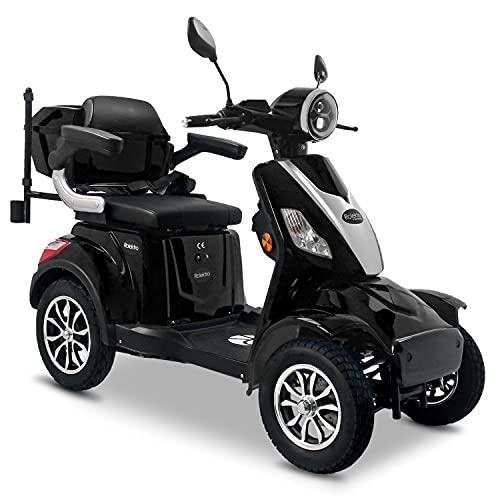 Rolektro E-Quad 25 V.3 Pro Schwarz mit Lithium Akku - Elektromobil 4-Rad - 80km Reichweite - 1000W Elektroroller mit Zulassung