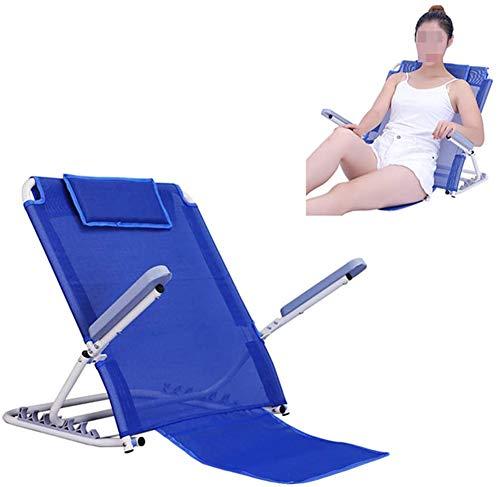 QSXF Soporte del lecho de Vuelta con la Cabeza del Respaldo Ajustable Movilidad colchón de Cama para la discapacidad del Paciente, 6 Posiciones de Apoyo para la Cabeza del Cuello,Blue