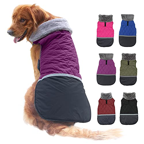 EMUST Dog Winter Jackets, Reversible Small/Medium/Large Dog Coat for Winter, Windproof Fleece French Bulldog Clothes for Dogs, Dog Coats for x-Large Dogs Winter, XL