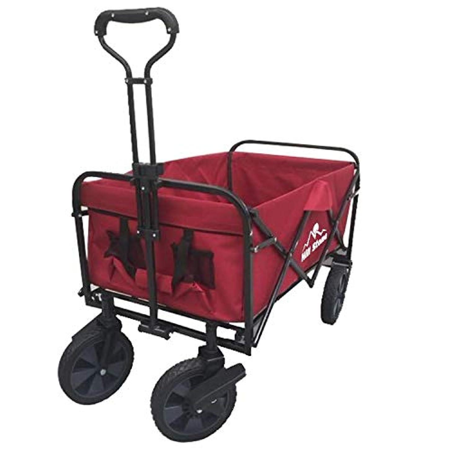 統合する悪の毎年雑貨の国のアリス キャリーワゴン アウトドアワゴン 折り畳み式 耐荷重80kg 前輪360度回転 収納袋付き ブレーキ付き [並行輸入品]
