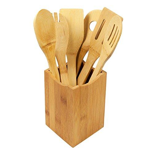 woodluv Lot de 6 ustensiles de Cuisine avec Support