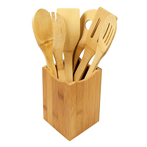 woodluv Juego de 6 Utensilios de Cocina de bambú con Soporte, marrón