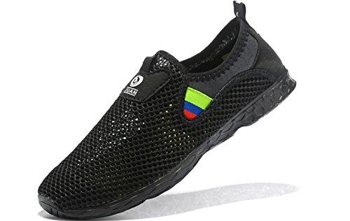 JUAN Herren Fitnessschuhe Walking Sneaker Workoutschuhe Mesh Laufschuhe Athletic Leicht Casual Sportschuhe, Schwarz (Schwarz T-038), 45 EU