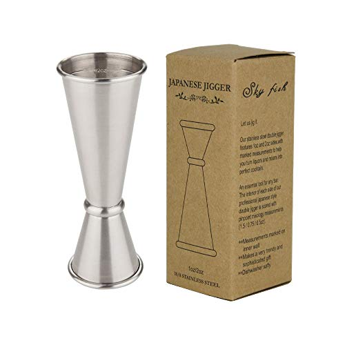 SKYFISH Vaso Medidor Cocktail Double, 1-2oz Japanesa Jigger de Acero Inoxidable 1-2 oz para Bar Medidores de Licores de Estilo Japonés Cocktail Jigger Measure para Bar y Hogar (Acero)