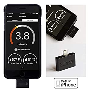 Sprimo Labs PAM01 Pocket-Sized Air Quality Tester for iPhone, Black