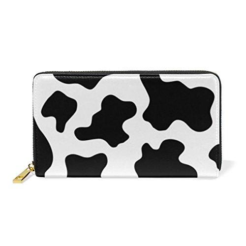 Women Genuine Leather Wallet Purse Black and White Cow Print Card Holder Organizer Clutch