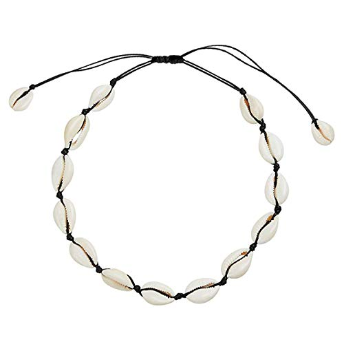 Natural Shell Necklace Choker Bead Pearl Handmade Hawaii Beach Rope Jewelry (Black Weaving Necklace) for Women Girl