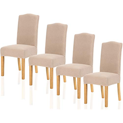 TIANSHU Fundas para sillas Pack de 4,Poliéster Elástica Fundas sillas Duradera Modern Bouquet de la Boda Hotel Decor Restaurante(Pack de 4,Arena )