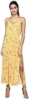 altmoda Women's Printed Yellow Slit Maxi Dress