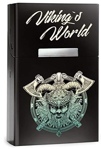 Leichtes Zigarettenetui aus Aluminium mit Magnetverschluss - für 20 Standard-Zigaretten - mit hochwertigem farbigen AUFDRUCK - Vikings World - Wikinger Kopf