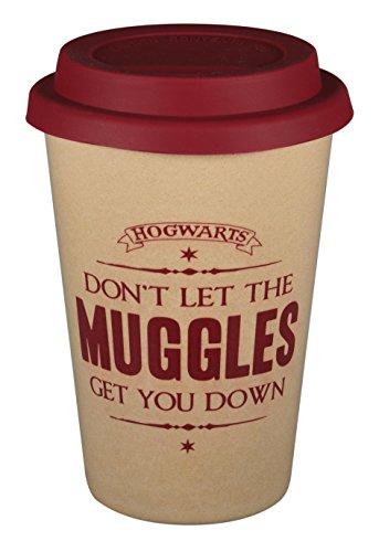 Harry Potter Mug de voyage Huskup Muggles Naturel/Rouge Imprimé 100% Bagues de riz Capacité environ 400 ml
