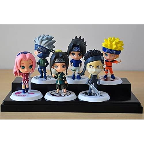 Kit 6 Bonecos Miniaturas Anime Naruto Sasuke Action Figures