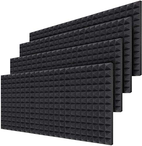 Acoustic Foam Panels 24 Pack 40.5 X 30.5 X 5 cm, Ohuhu Sound Absorbing Dampening Wall Foam Pyramid 2 Inch Acoustic Treatment Kit, Soundproofing Studio Foam Tiles