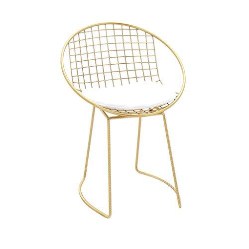 JIEER-C Ergonomische stoelen, eetkamerstoelen, comfortabel, dressingstoelen, vrijetijdsstoelen, metalen stoelen, vloerbedekking van zacht leer, gevoerd, kussens, zout