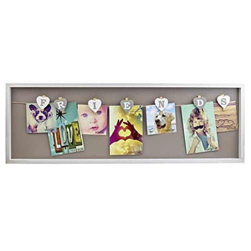 Bilderrahmen aus Holz, Klammern, Friends, Freunde, Fotocollage, Fotorahmen, Portraitrahmen, Weiß/Grau
