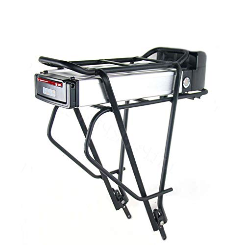 La batería de la bicicleta tiene luces traseras Batería de bicicleta eléctrica Buen rendimiento a prueba de agua Con portabultos trasero cargador interfaz USB, vida útil de hasta cinco años,36V12.5Ah