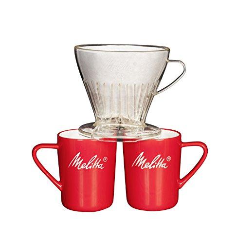 Melitta Kaffee-Set, Kaffeehalter für Filtertüten und Porzellan-Tassen (2 Stück), Kaffeefilter 1x4 Premium, Kunststoff und Porzellan, Transparent und Rot, 217953