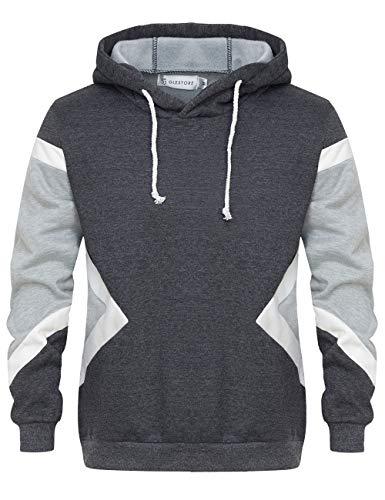GLESTORE Sweat-Shirt à Capuche Homme Manches Longues Hiver Slim Fit Noir Bleu Marron (37gris, XL)
