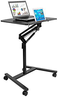 Mount-It! Mobile Stand Up Desk/Height Adjustable Computer Work Station Rolling Presentation Cart (MI-7940)