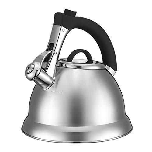 Electric oven Tetera de té de Acero Inoxidable quirúrgico 3L, Tetera silbante con asa de ergonomía, para Todas Las Estufas (Color : Silver, tamaño : 3L)