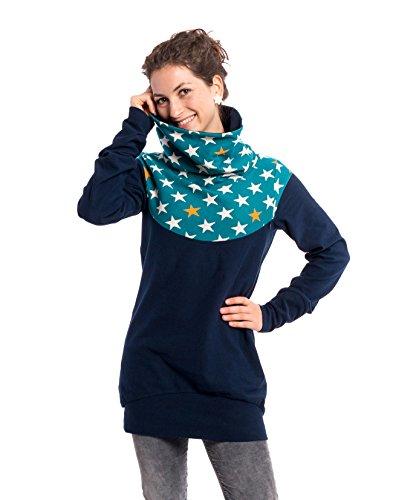 Viva la Mama Schwangerschaft Oberteil Winter warm Sweatshirt Stillen Mutter Sweatpulli - Everest blau Sterne - M