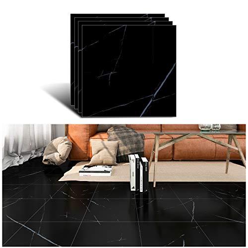 VEELIKE Adhesivo para Azulejos de Suelo Impermeable de Mármol Negro para Baño Autoadhesivo Prueba de Aceite para Azulejos de Cocina Adhesivo de Vinilo Fácil de Limpiar 4 Piezas 30cm x 30cm