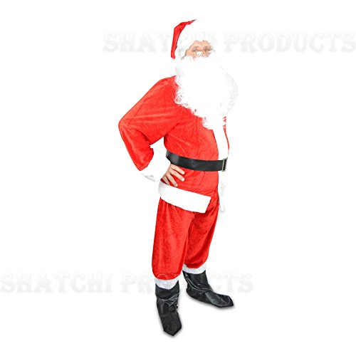 SHATCHI Full Set Traditional Extra Large Premium Regal Plush Men's Claus Father Christmas Suit Fancy Dress Costume with Santa Hat, Beard and Boot Cover