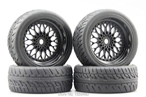 GzxLaY 4pcs 1/10 Neumático de Goma Suave para Turismo (Diablo) Llanta de Rueda Y12NK (Material Negro) Desplazamiento de 3/6/9 mm para 1:10 Touring Car 10030