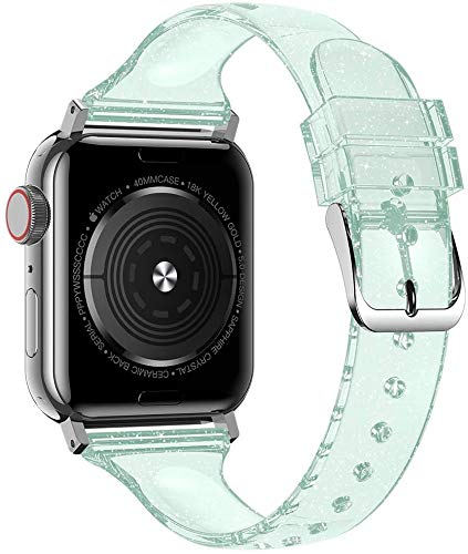 Hspcam Correa de silicona para Apple Watch Band 44mm 40mm iWatch Band 38mm 42mm Slim Glitter Mujer Pulsera para iWatch Series 3 4 5 6 SE (42mm o 44mm), verde)