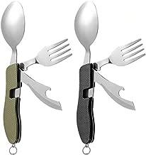 2Pcs Detachable Camping Utensils Cutlery Set, Caudblor Portable 4 in 1 Stainless Steel Travel Utensil, Foldable Knife Fork Spoon Bottle Opener, Multi Function Eating Flatware Tableware(Green Black)