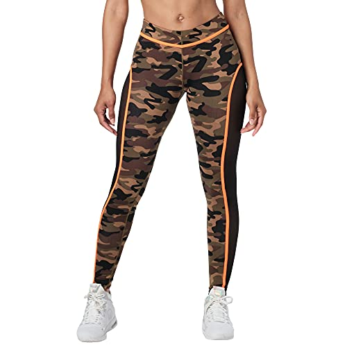 Zumba Fitness Soft Dance Workout Activewear Compression Printed Leggings for Women, Coral Camo, XX-Large