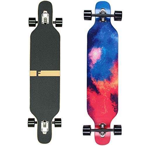 FunTomia Longboard Skateboard Drop Through Cruiser Komplettboard mit Mach1 High Speed Kugellager T-Tool mit und ohne LED Rollen (Mod. Camber - Ahornholz Galaxy)